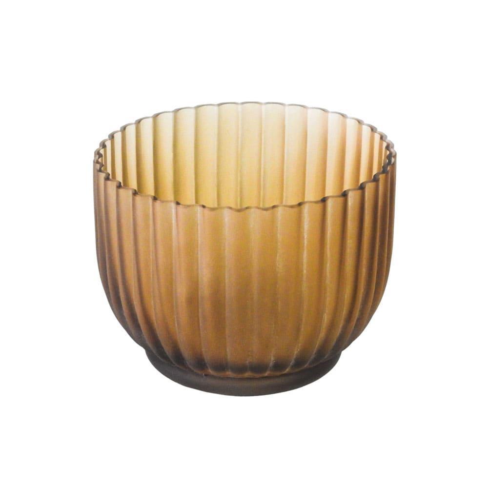 Vaso Decorativo em Vidro na Cor Marrom - 12x16cm