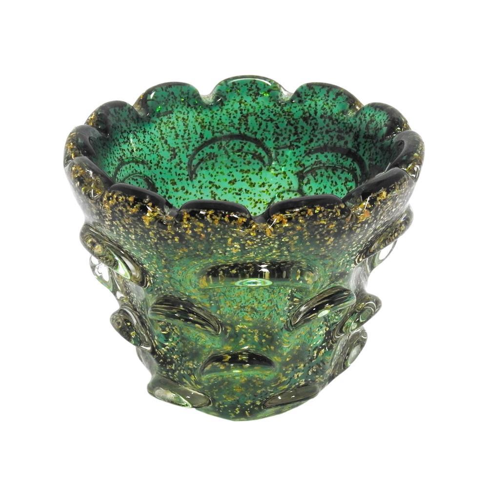 Vaso Decorativo em Murano Verde com Detalhes - 14x10x14cm