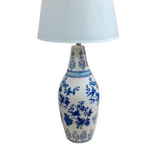 Abajur em Cerâmica com Pinturas em Azul - 80x48cm