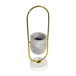 Vaso Decorativo Produzido em Metal e Mármore - 47x14cm