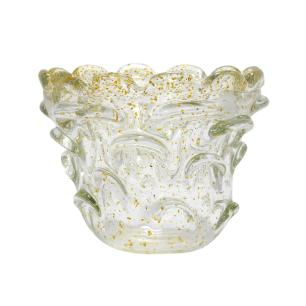Vaso Decorativo em Murano Incolor com Detalhes - 14x10x14cm