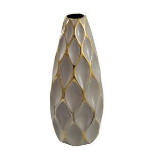 Vaso Decorativo Marrom com Detalhes em Dourado - 48x17x17cm