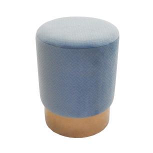 Puff com Estofado em Veludo Azul - 47x45cm