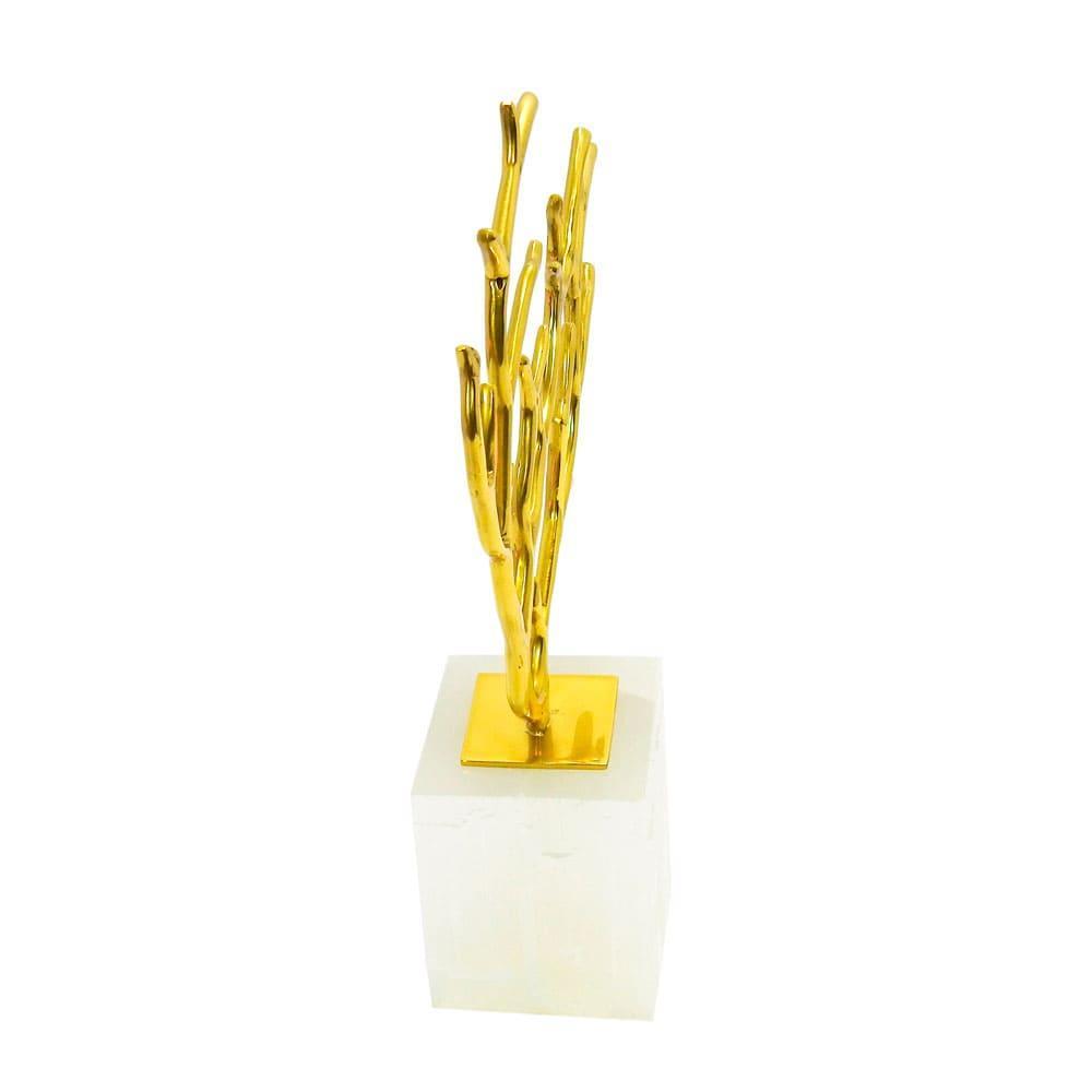 Escultura Decorativa de Árvore em Metal Dourado e Base em Pedra - 33x23x8cm