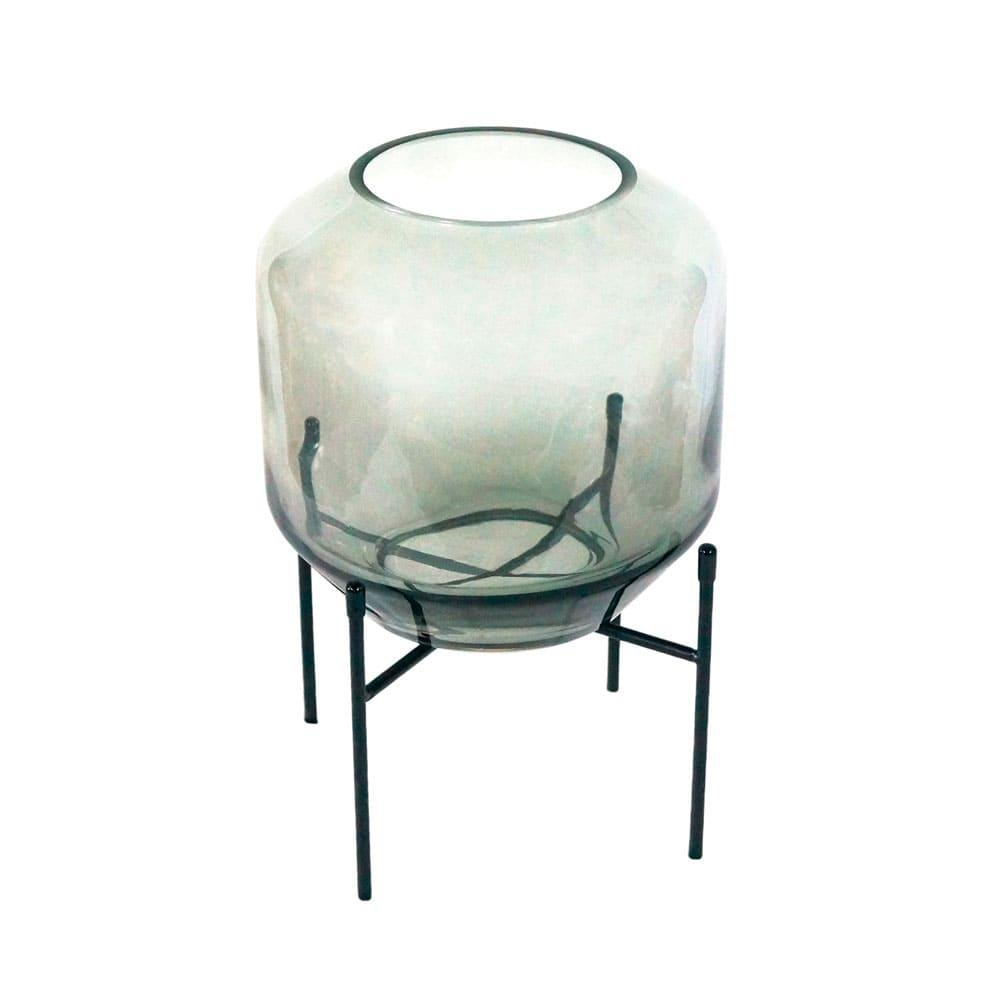 Vaso Decorativo em Vidro na Cor Cinza - 31x18cm