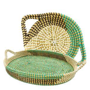 Conjunto de Bandejas Decorativas com Alças Produzida em Rattan na Cor Verde com Preto - 2 Peças