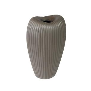 Vaso Decorativo em Cerâmica na Cor Cinza Escuro - 34x18x13cm