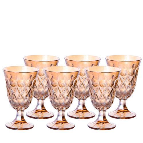 Jogo de 6 Taças para Água Angelica em Cristal - 240ml 14cm