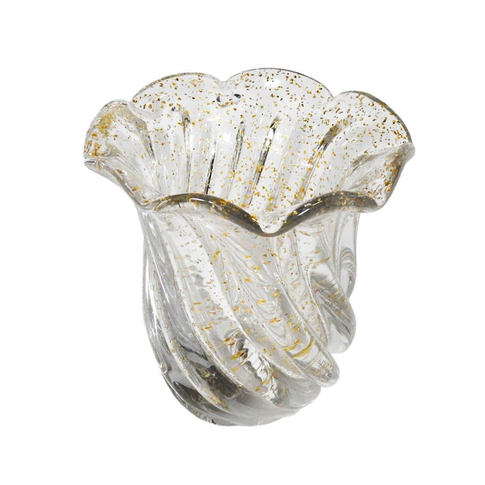 Vaso Decorativo em Murano Incolor com Detalhes em Dourado - 14x14cm