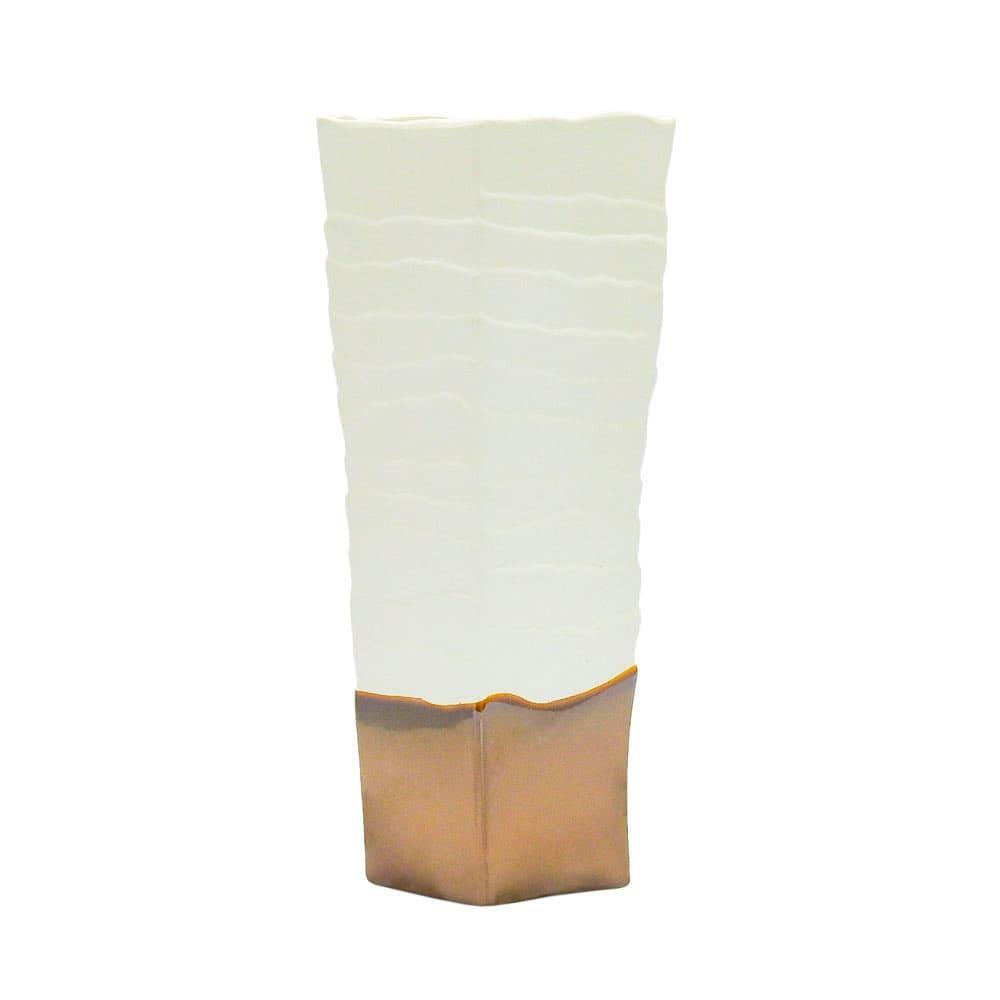 Vaso Decorativo Branco e Cobre em Cerâmica - 34x13cm