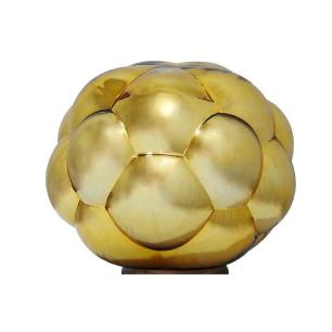 Abajur com Base em Metal Cúpula em Vidro Metálico Dourado - 37x37cm