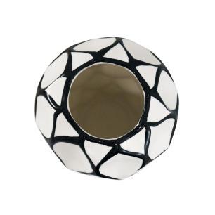 Vaso Decorativo Branco com Detalhes em Preto - 28x18x18cm