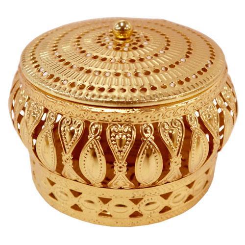 Porta Joias Kalifah Redondo em Ferro cor Dourado - D11.5xA8cm