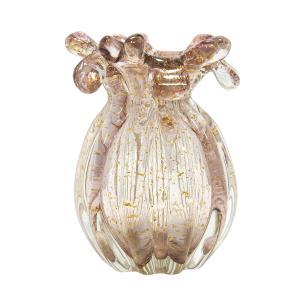 Vaso em Murano Rosa com Detalhes Dourado - 13x17x13cm