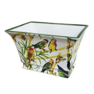 Vaso Decorativo em Cerâmica com Desenhos de Pássaros e Borboletas - 19x30x20cm
