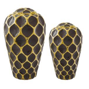 Conjunto de Potiche Decorativos Marrom com Detalhes em Dourado - 2 Peças