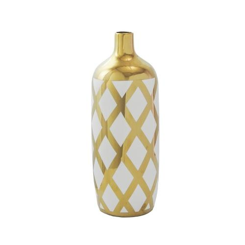 Vaso Decorativo Médio em Porcelana Dourado e Branco