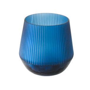 Vaso Decorativo em Vidro na Cor Azul - 18x19cm