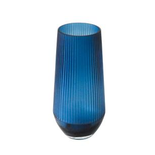 Vaso Decorativo em Vidro na Cor Azul - 30x15cm