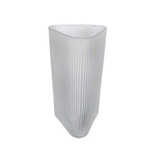 Vaso em Vidro Decorativo Cinza Claro - 28,5x13,5x15cm