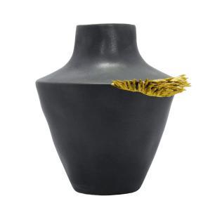 Vaso Decorativo em Cerâmica Cinza Chumbo  - 21x21cm