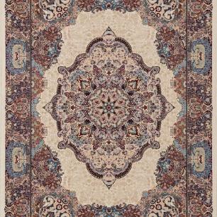 Tapete Persa Qom Bege com Detalhes Coloridos - 285x200cm