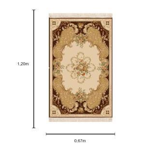 Tapete Persa Marrom com Detalhes  Bege - 67x120cm