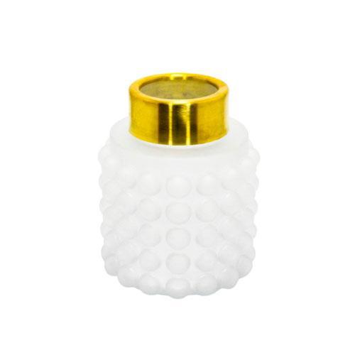 Vaso em Vidro Branco com Dourado com Relevo - 20x16cm