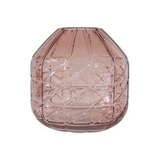 Vaso Decorativo em Vidro Rosa - 18cm