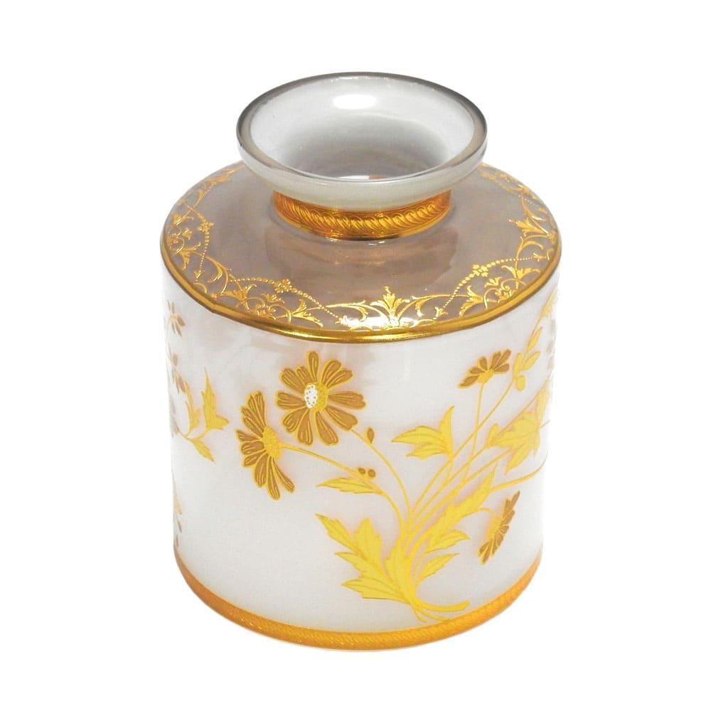 Vaso Decorativo em Vidro Branco com Detalhes Dourado - 13x10cm