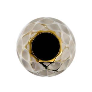 Vaso Decorativo Marrom com Detalhes em Dourado - 40x15x15cm