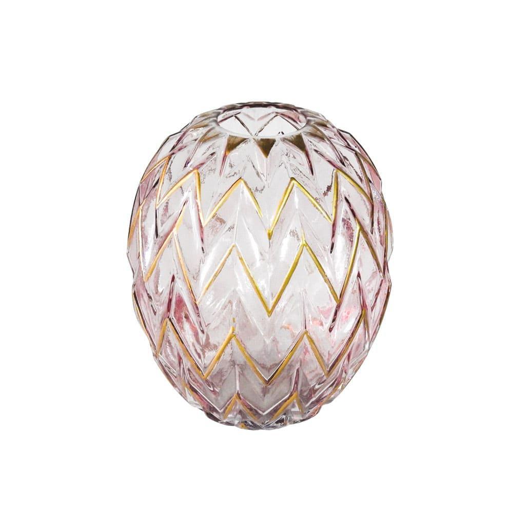 Vaso Decorativo em Vidro na Cor Rosa com Detalhes em Dourado - 20x17cm