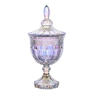 Potiche Clássica com Pé em Cristal Furta-Cor - 11x24,5cm