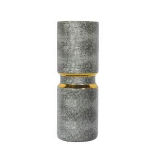 Vaso Decorativo em Porcelana Dourado e Cinza - 41x15x15cm