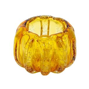 Vaso em Murano Âmbar com Detalhes Dourado - 13x11x13cm
