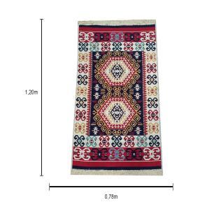 Tapete Turco Kilim Vermelho com Detalhes em Bege - 120x78cm