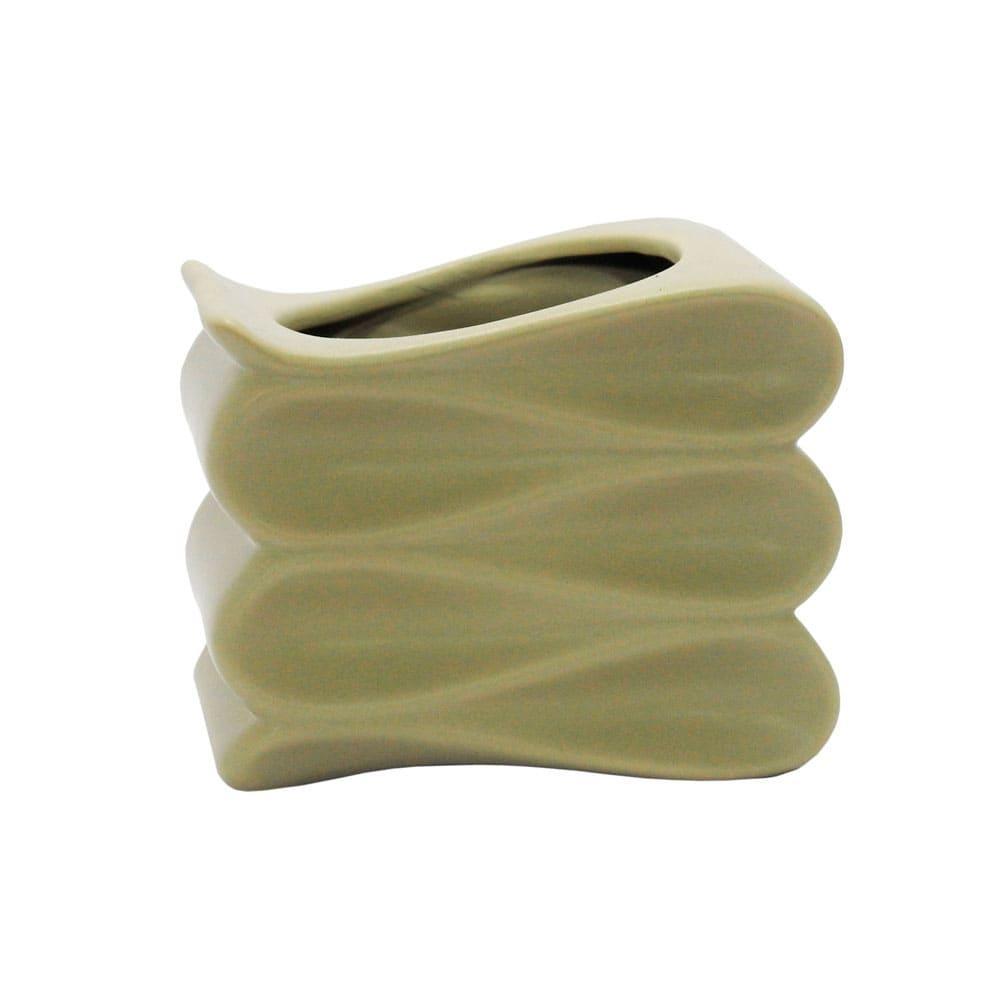 Vaso Decorativo Bege em Cerâmica - 11x14x11cm