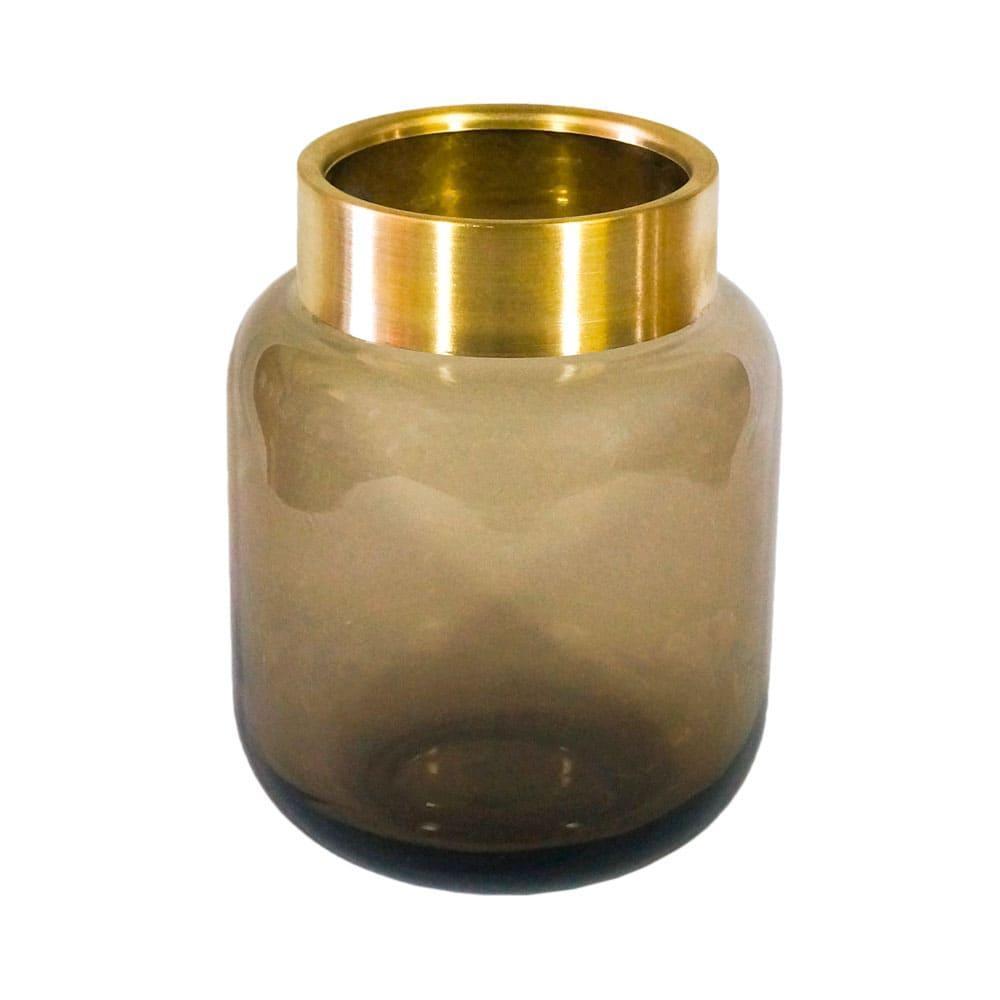 Vaso Decorativo em Vidro na Cor Marrom - 22x16cm
