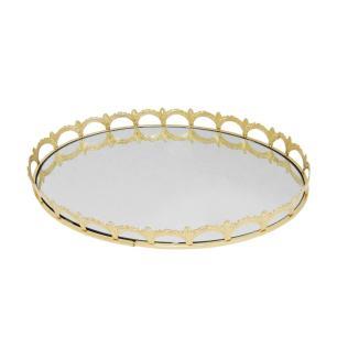 Bandeja Oval em Metal Dourado