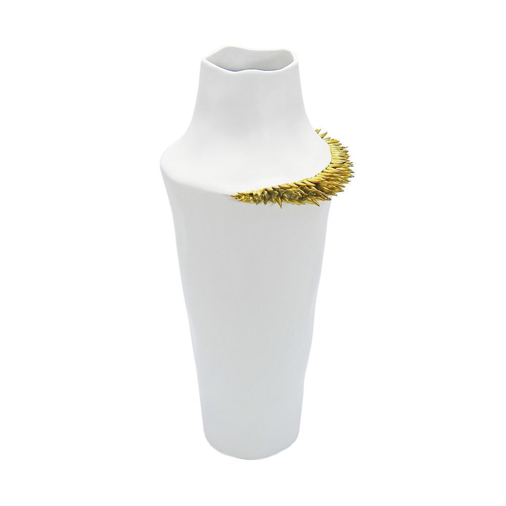 Vaso Decorativo Branco com Detalhes Dourado - 44x17cm