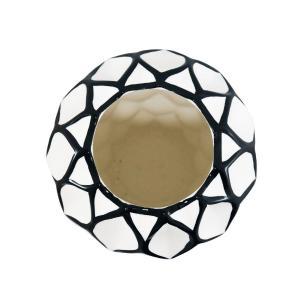 Vaso Decorativo Branco com Detalhes em Preto - 35x26x26cm
