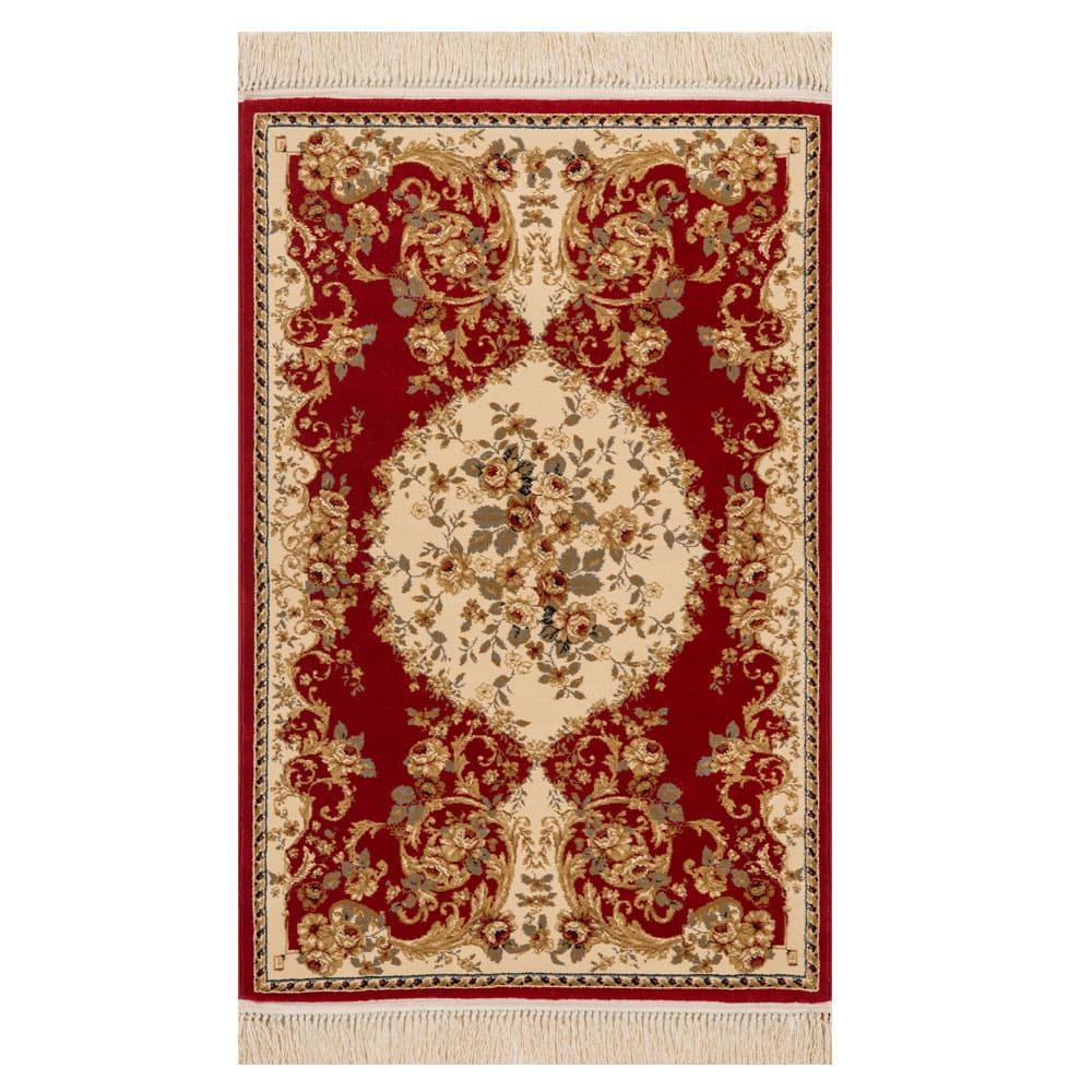 Tapete Persa Vermelho com Detalhes Bege - 57x90cm
