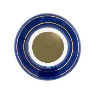 Vaso Decorativo Branco com Detalhes em Azul e Dourado - 16x11x11cm