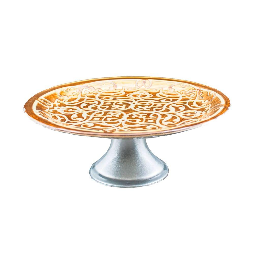 Prato de Bolo cor Creme com Pé - 21cm