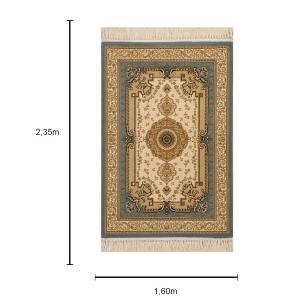 Tapete Persa Bege com Detalhes Azul - 160x235cm