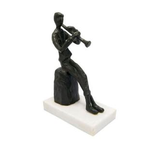 Escultura Decorativa Musicista Clarinete - 27x11,5x6cm