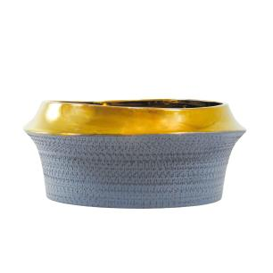 Vaso Decorativo em Cerâmica Cinza - 15x32cm