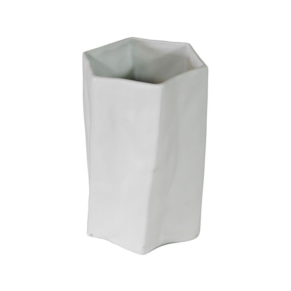 Vaso Decorativo em Porcelana na Cor Branca - 24x15cm