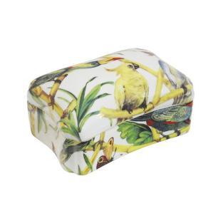 Caixa em Cerâmica com Aves e Borboletas - 9x18x14