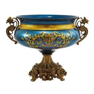 Centro de Mesa em Cristal Azul e Dourado -  25x34x25cm